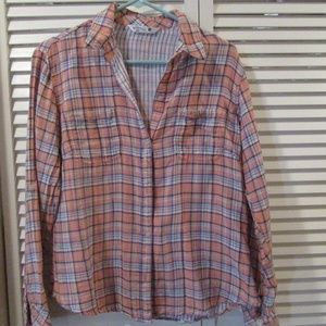 Riders by Lee Plaid Button Down Shirt Medium NWOT